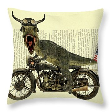 T Rex Riding His Harley, Dictionary Print Throw Pillow