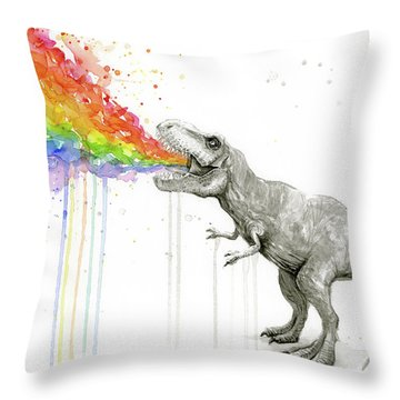 T-rex Tastes The Rainbow Throw Pillow