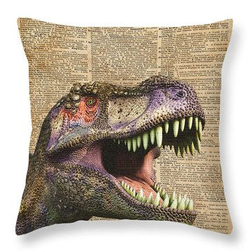 T-rex,tyrannosaurus,dinosaur Vintage Dictionary Art Throw Pillow