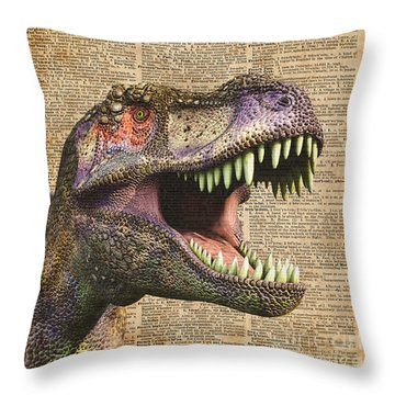 T-rex,tyrannosaurus,dinosaur Vintage Dictionary Art Throw Pillow by Jacob Kuch