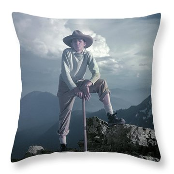 Throw Pillow featuring the photograph T104800 Ed Cooper On First Climb Pinnacle Peak Wa 1953 by Ed Cooper Photography