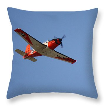 T34 Mentor Trainer Flying Throw Pillow