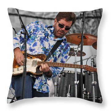 Tab Benoit Plays His 1972 Fender Telecaster Thinline Guitar Throw Pillow