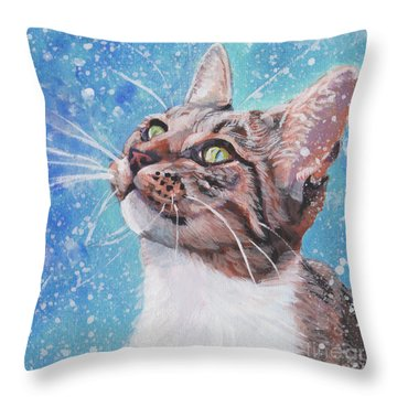 Throw Pillow featuring the painting Tabby Cat In The Winter by Lee Ann Shepard