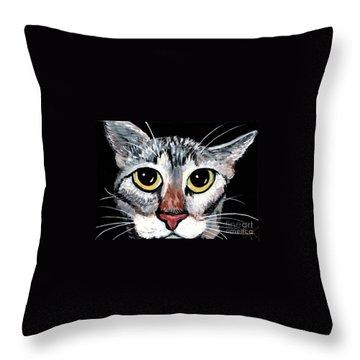 Tabby Eyes Throw Pillow by Elaine Hodges
