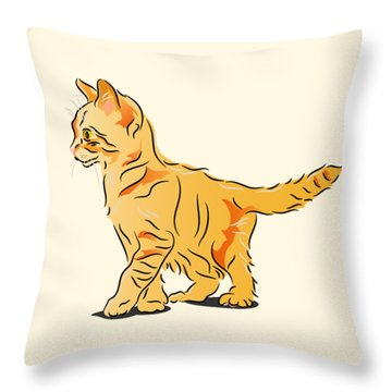 Throw Pillow featuring the digital art Tabby Kitten by MM Anderson