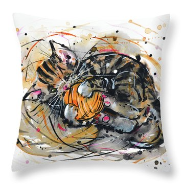 Throw Pillow featuring the painting Tabby Kitten Playing With Yarn Clew  by Zaira Dzhaubaeva