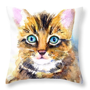 Tabby Kitten Watercolor Throw Pillow
