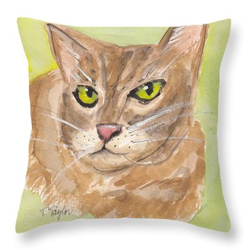 Tabby With Attitude Throw Pillow by Terry Taylor