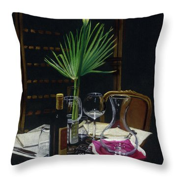 Table For Two A Night's Promise Throw Pillow by Kelly Borsheim