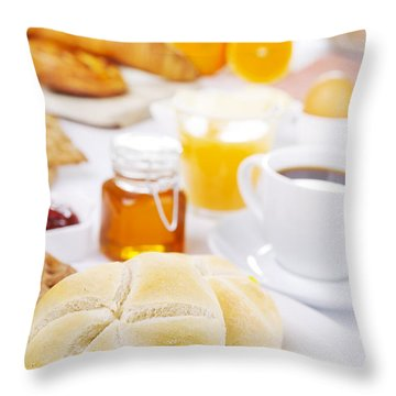 Table Full With Continental Breakfast Items, Brightly Lit Throw Pillow
