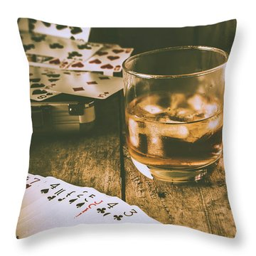 Table Games And The Wild West Saloon  Throw Pillow