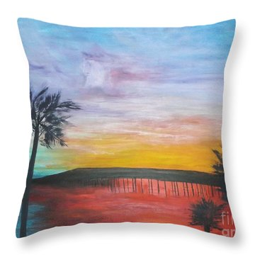 Throw Pillow featuring the painting Table On The Beach From The Water Series by Donna Dixon