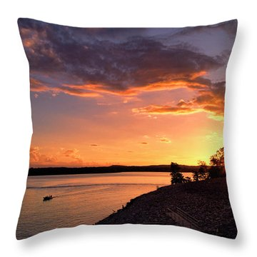 Throw Pillow featuring the photograph Table Rock Sunset by Cricket Hackmann