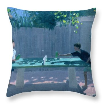 Table Tennis Throw Pillow by Andrew Macara