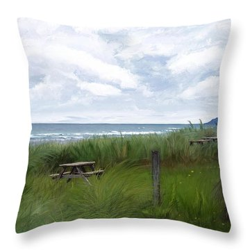 Tables By The Ocean Throw Pillow