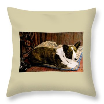 Tackroom Mascot Throw Pillow by Angela Davies