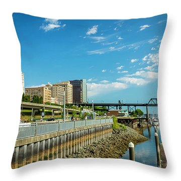 Tacoma And 11th Street Bridge Throw Pillow