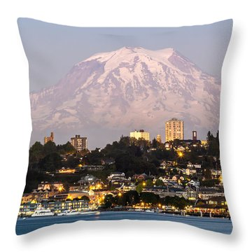Tacoma And It's Gaurdian Mt Rainier Throw Pillow