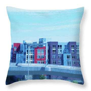 Throw Pillow featuring the photograph Tacoma Blues - Cityscape Art Print by Jane Eleanor Nicholas