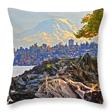 Tacoma In The Fall Throw Pillow by Jack Moskovita