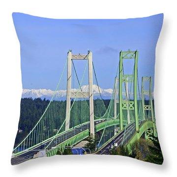 Tacoma Narrows Bridge With Olympic Mountains Throw Pillow