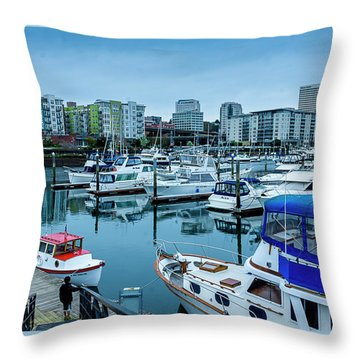 Tacoma Waterfront Marina,washington Throw Pillow