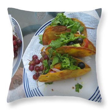 Throw Pillow featuring the photograph Tacos Almost Mirrored by Marie Neder