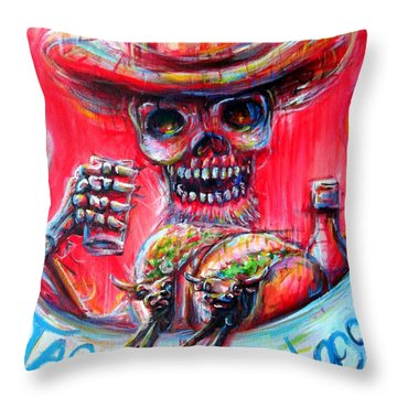 Tacos De Barbacoa Throw Pillow by Heather Calderon