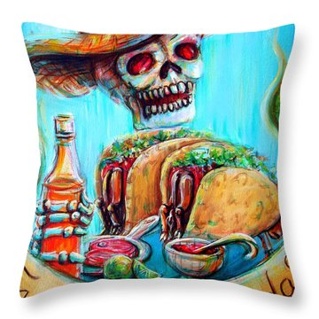 Tacos De Carne Asada Throw Pillow by Heather Calderon