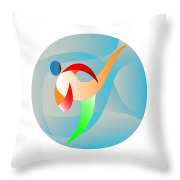 Taekwondo Fighter Kicking Circle Retro Throw Pillow