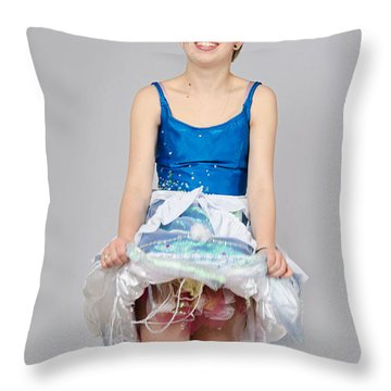 Taetyn In Jelly Fish Dress Throw Pillow