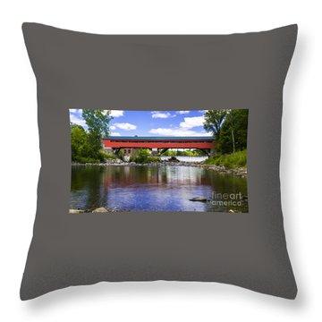 Taftsville Covered Bridge. Throw Pillow