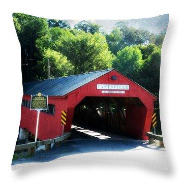Taftsville Covered Bridge Throw Pillow by Robin Regan