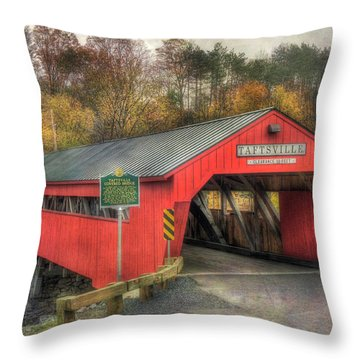 Throw Pillow featuring the photograph Taftsville Covered Bridge Vermont by Joann Vitali