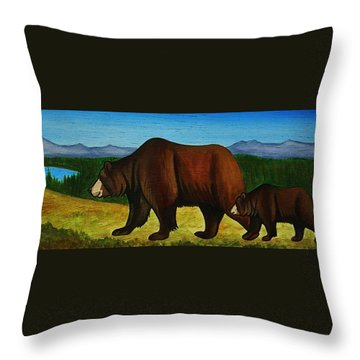 Taggart Lake Bears Throw Pillow by Lucy Deane