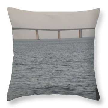 Tagus River Seen From The Park Of Nations In Lisbon Throw Pillow by Anamarija Marinovic