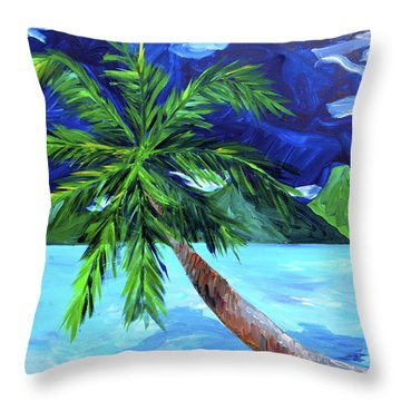Tahiti Beach Throw Pillow by Beth Cooper