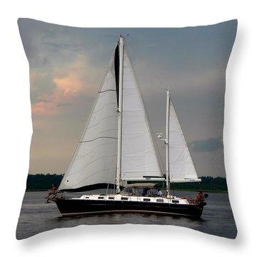 Tahiti Under Sail Throw Pillow