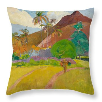Tahitian Landscape, 1891.  Throw Pillow