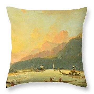Tahitian War Galleys In Matavai Bay - Tahiti Throw Pillow by William Hodges