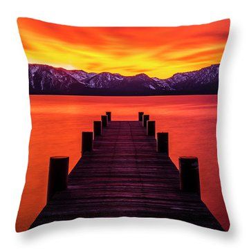 Tahoe Ablaze By Brad Scott Throw Pillow