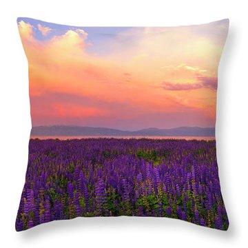 Tahoe City Lupine Sunset By Brad Scott Throw Pillow