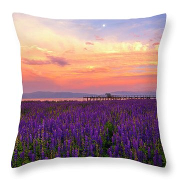 Tahoe City Lupine Sunset By Brad Scott Throw Pillow