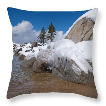 Tahoe Icicles Throw Pillow by Vinnie Oakes