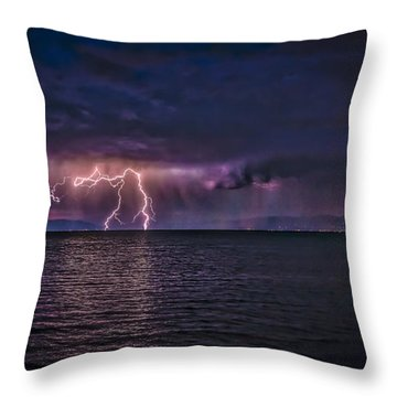 Tahoe Lightning Throw Pillow by Mitch Shindelbower