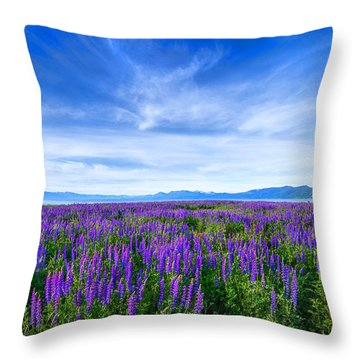 Tahoe Lupines Throw Pillow