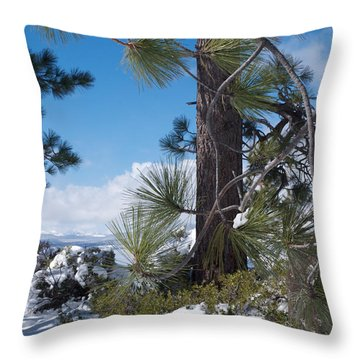 Tahoe Pines In Winter Throw Pillow by Vinnie Oakes
