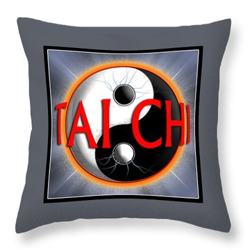 Throw Pillow featuring the digital art Tai Chi by Steve Sperry