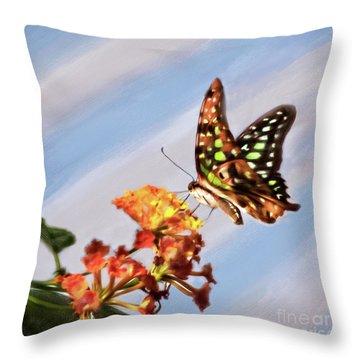 Tail Jay On Scarlet Milkweed Throw Pillow